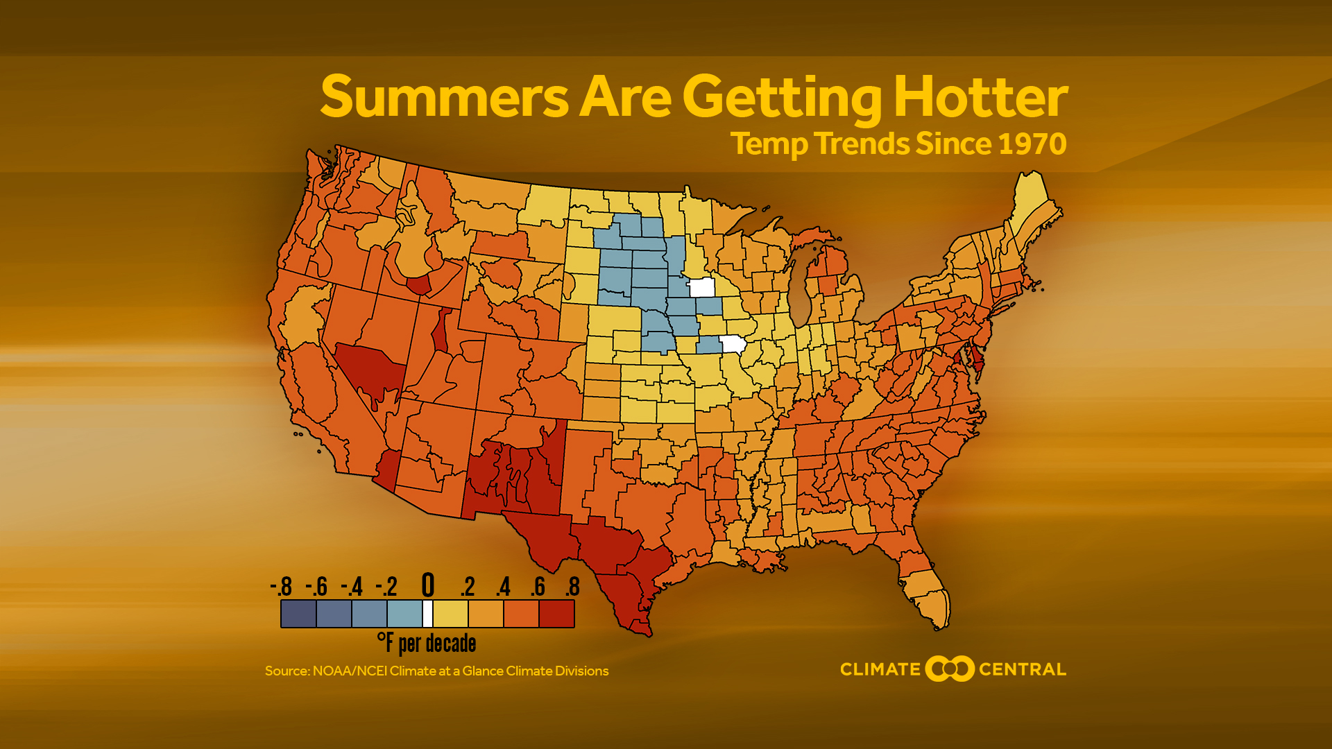 Summer temperature trends by climate division