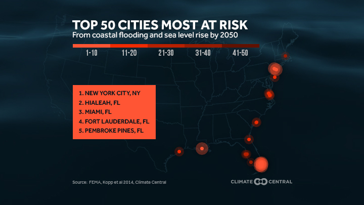 Map of areas with greatest flood risk in 2050