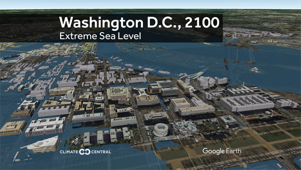 City-scape visuals of extreme sea level rise