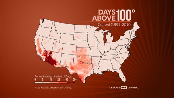 Days above 100 (current average 91-10)
