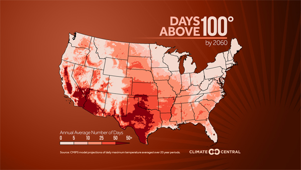 Days above 100 (by 2060)