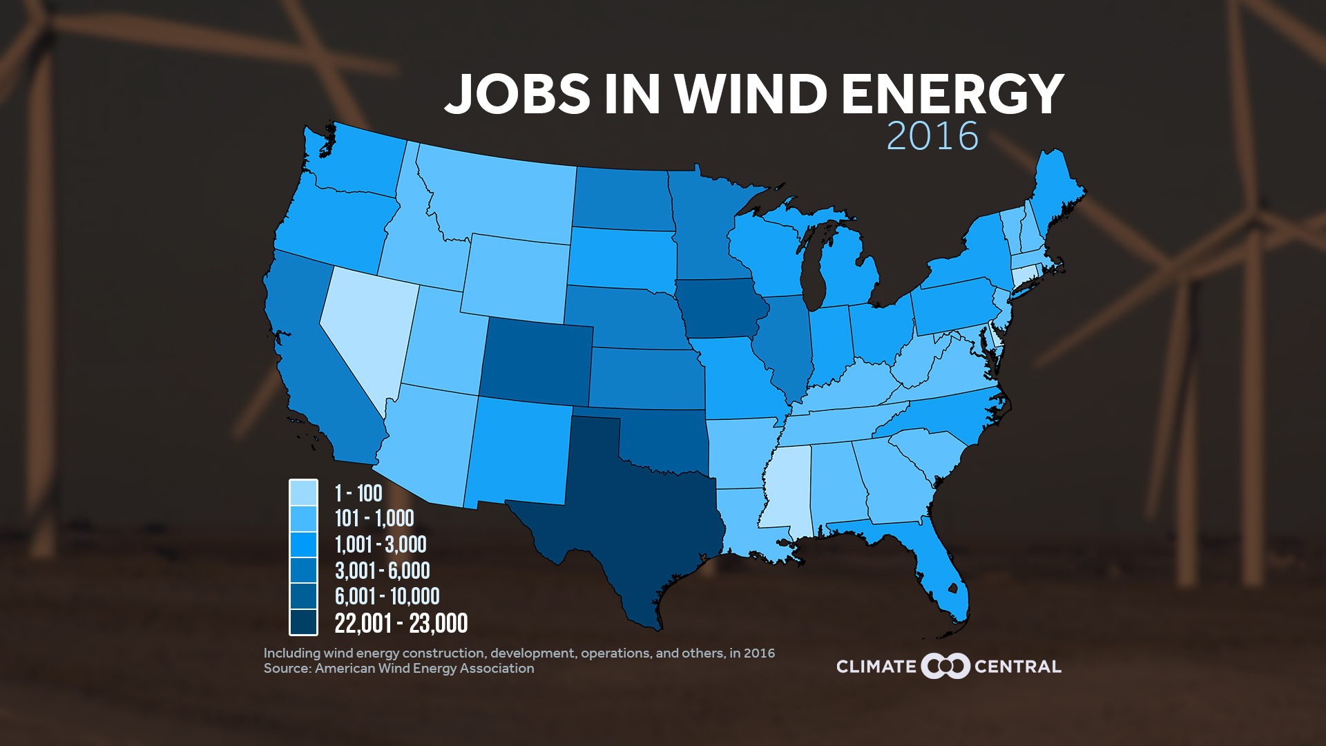 Job growth from wind energy in each state