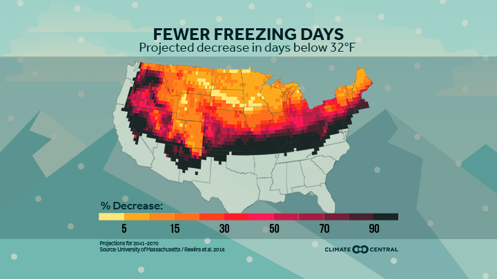 National map with projections of days below freezing