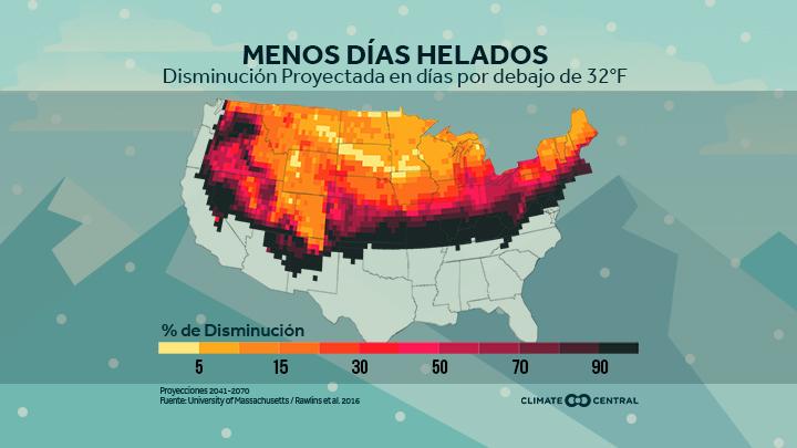 mapa nacional con proyecciones de días bajo el punto de congelación